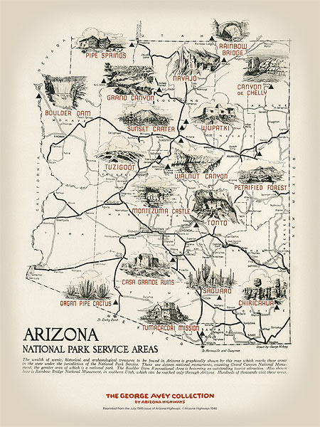 1946 National Parks Map Poster