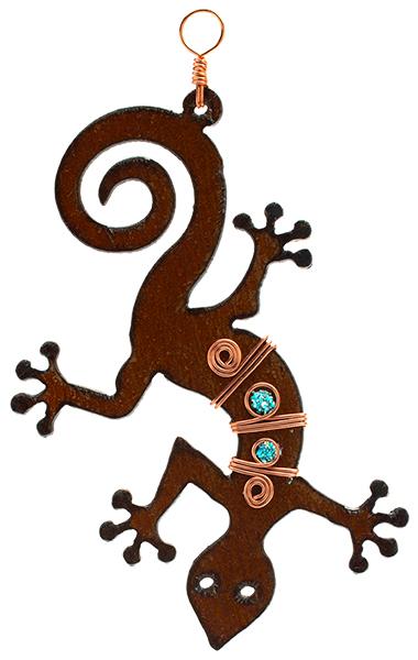 Rustic Metal Gecko Ornament