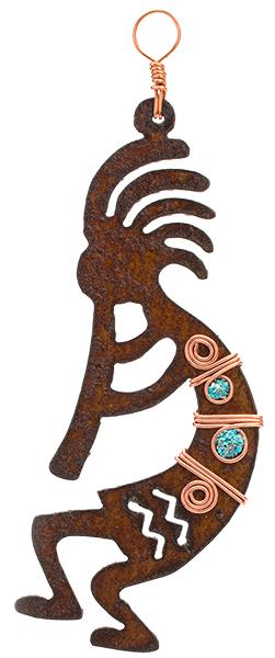 Rustic Metal Kokopelli Ornament