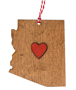 Arizona Wooden Heart Ornament