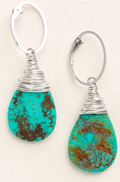 Natural Turquoise Teardrop Earrings