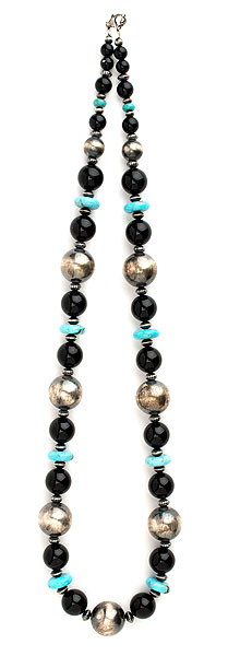 Antiqued Sterling with Black Onyx & Blue Turquoise Bead Necklace