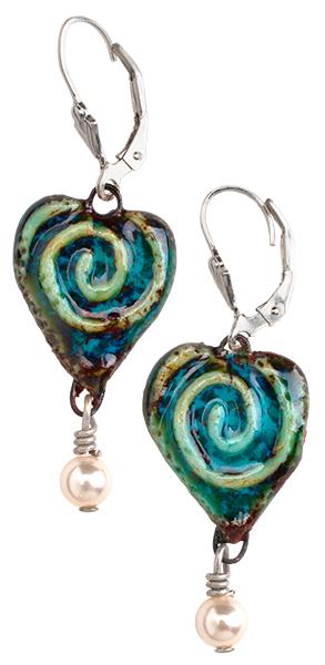 Tiered Porcelain Heart Earrings