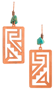 Aztec Design Copper Earrings